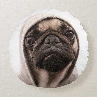 Close up of pug wearing hoodie. round cushion