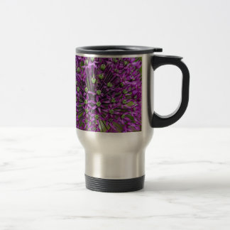 Close up of purple allium flower travel mug