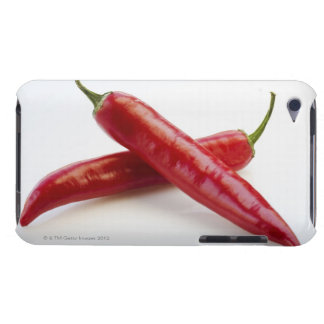 Close up of red chili peppers on white barely there iPod cases
