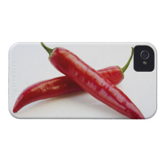 Close up of red chili peppers on white iPhone 4 Case-Mate case