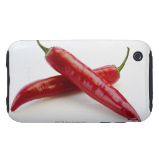 Close up of red chili peppers on white tough iPhone 3 cover