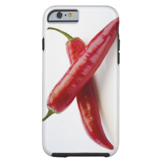 Close up of red chili peppers on white tough iPhone 6 case