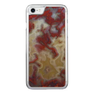 Close up of Red Moss Agate Slab Carved iPhone 7 Case