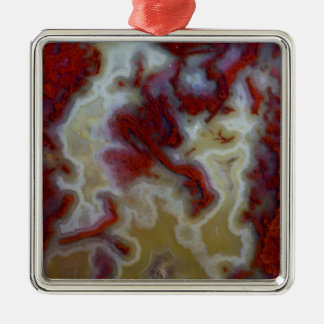 Close up of Red Moss Agate Slab Silver-Colored Square Decoration