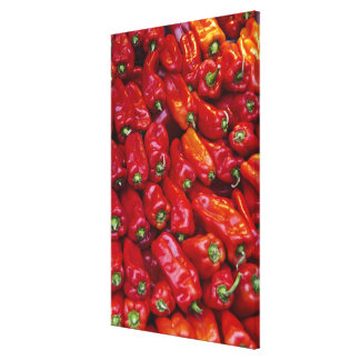 Close up of red peppers stretched canvas prints