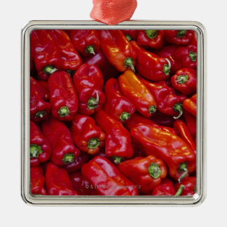 Close up of red peppers Silver-Colored square decoration
