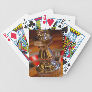 Close-up of roulette wheel bicycle playing cards