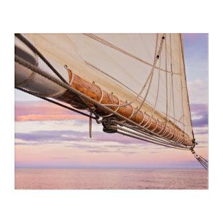 Close-Up Of Sail And Ropes | Maine, Camden Acrylic Print