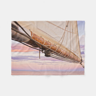 Close-Up Of Sail And Ropes | Maine, Camden Fleece Blanket