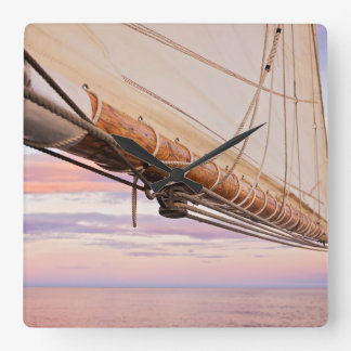 Close-Up Of Sail And Ropes | Maine, Camden Square Wall Clock