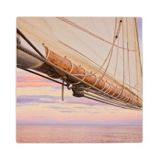 Close-Up Of Sail And Ropes | Maine, Camden Wood Coaster