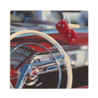 Close-up of steering wheel in classic car wood coaster