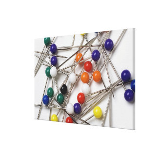 Close-up of straight pins gallery wrap canvas