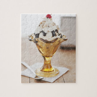 Close up of sundae with cherry on top jigsaw puzzle