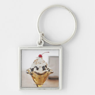 Close up of sundae with cherry on top Silver-Colored square key ring