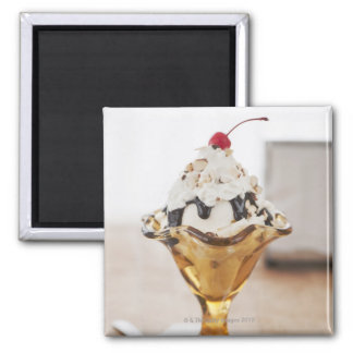 Close up of sundae with cherry on top square magnet
