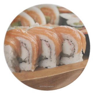 Close-up of sushi in a platter plate
