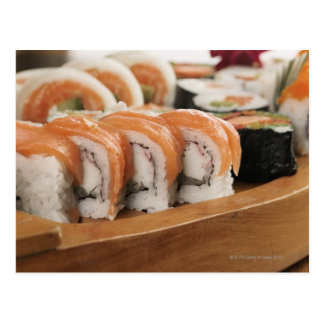 Close-up of sushi in a platter postcard