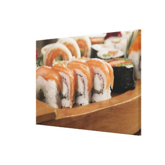 Close-up of sushi in a platter stretched canvas prints