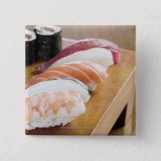 Close-up of sushi on a table 15 cm square badge