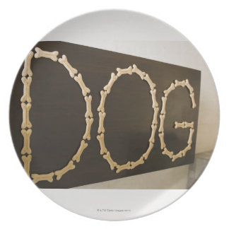 Close-up of text DOG made with dog biscuits on a Plate