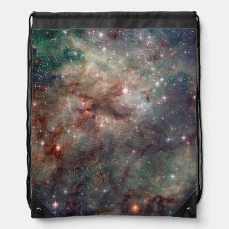 Close-up of the Tarantula Nebula Drawstring Bag
