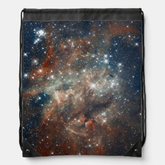 Close-up of the Tarantula Nebula Drawstring Bag
