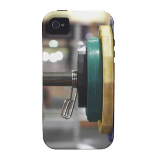 Close-up of the weights on a barbell iPhone 4 cases