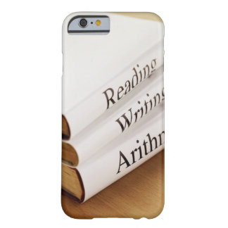 close-up of three books on a wooden surface barely there iPhone 6 case