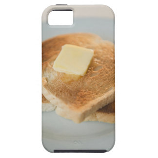 Close up of toasts with butter on plate iPhone 5 case