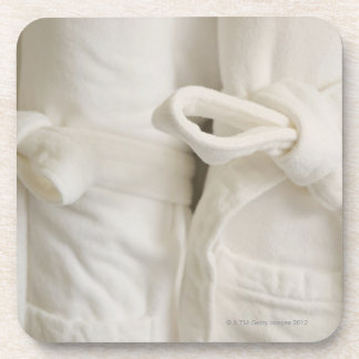 Close up of towels in spa drink coaster