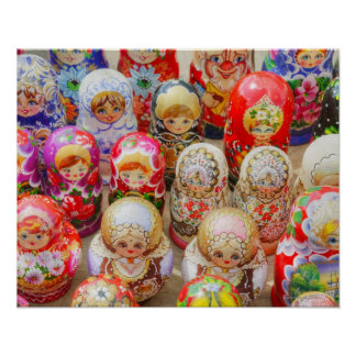 Close-up of traditional Russian nested dolls Poster