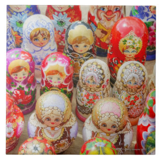 Close-up of traditional Russian nested dolls Tile