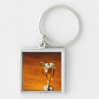 Close-up of trophy Silver-Colored square key ring