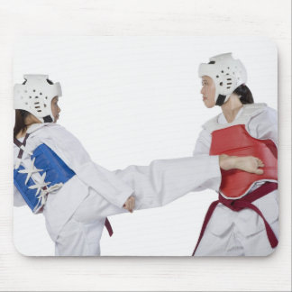 Close-up of two young women practicing mouse mat