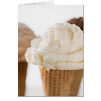 Close up of various ice cream cones card