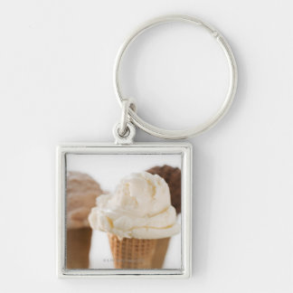Close up of various ice cream cones Silver-Colored square key ring