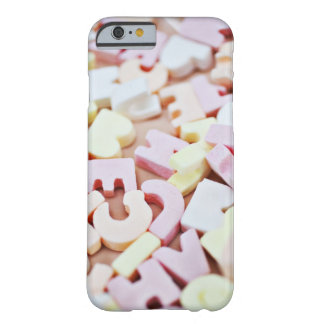 Close up of vibrant candy alphabet barely there iPhone 6 case