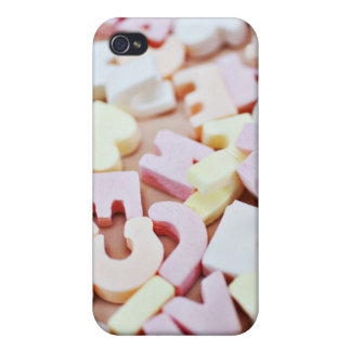 Close up of vibrant candy alphabet case for iPhone 4