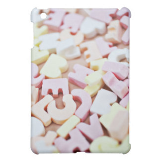 Close up of vibrant candy alphabet cover for the iPad mini