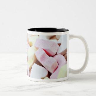Close up of vibrant candy alphabet Two-Tone coffee mug