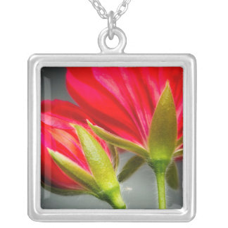 Close-up of vining geranium from back of flower silver plated necklace