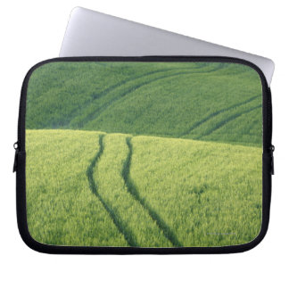 Close up of Wheat Field with Tire Tracks, Laptop Sleeve