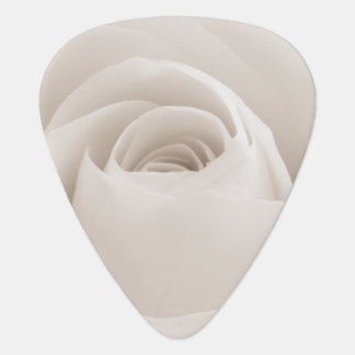 Close up of White Rose Petals Guitar Pick