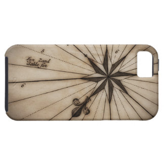 Close up of wind rose on antique map case for the iPhone 5