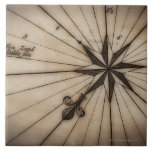 Close up of wind rose on antique map large square tile