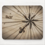 Close up of wind rose on antique map mouse pad