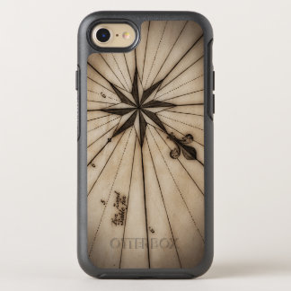 Close up of wind rose on antique map OtterBox symmetry iPhone 8/7 case