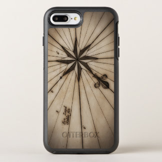 Close up of wind rose on antique map OtterBox symmetry iPhone 8 plus/7 plus case
