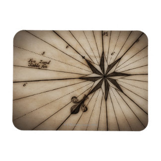Close up of wind rose on antique map rectangular photo magnet